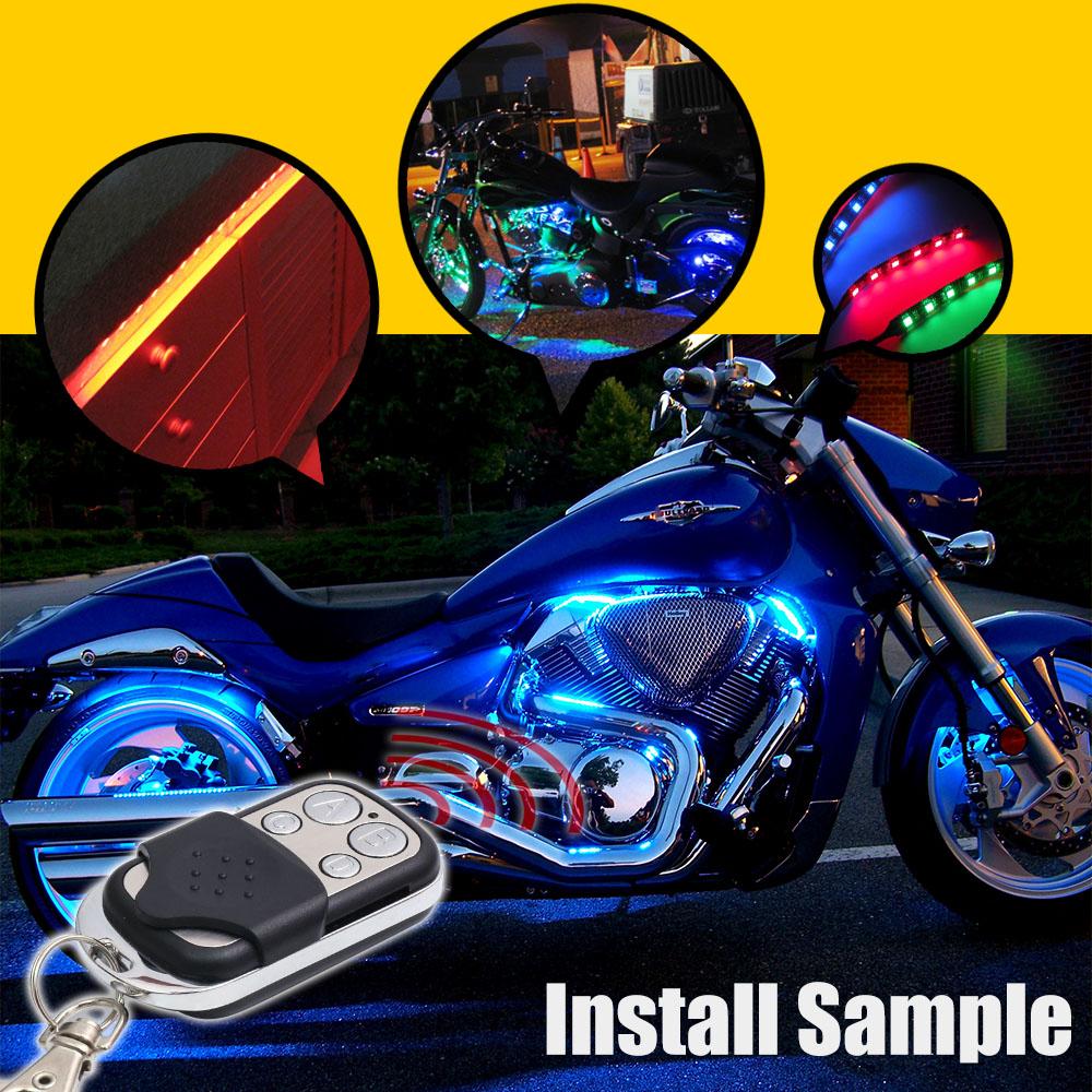 8x Rgb Led Motorcycle Lighting Neon Glow Lights Strips Kit