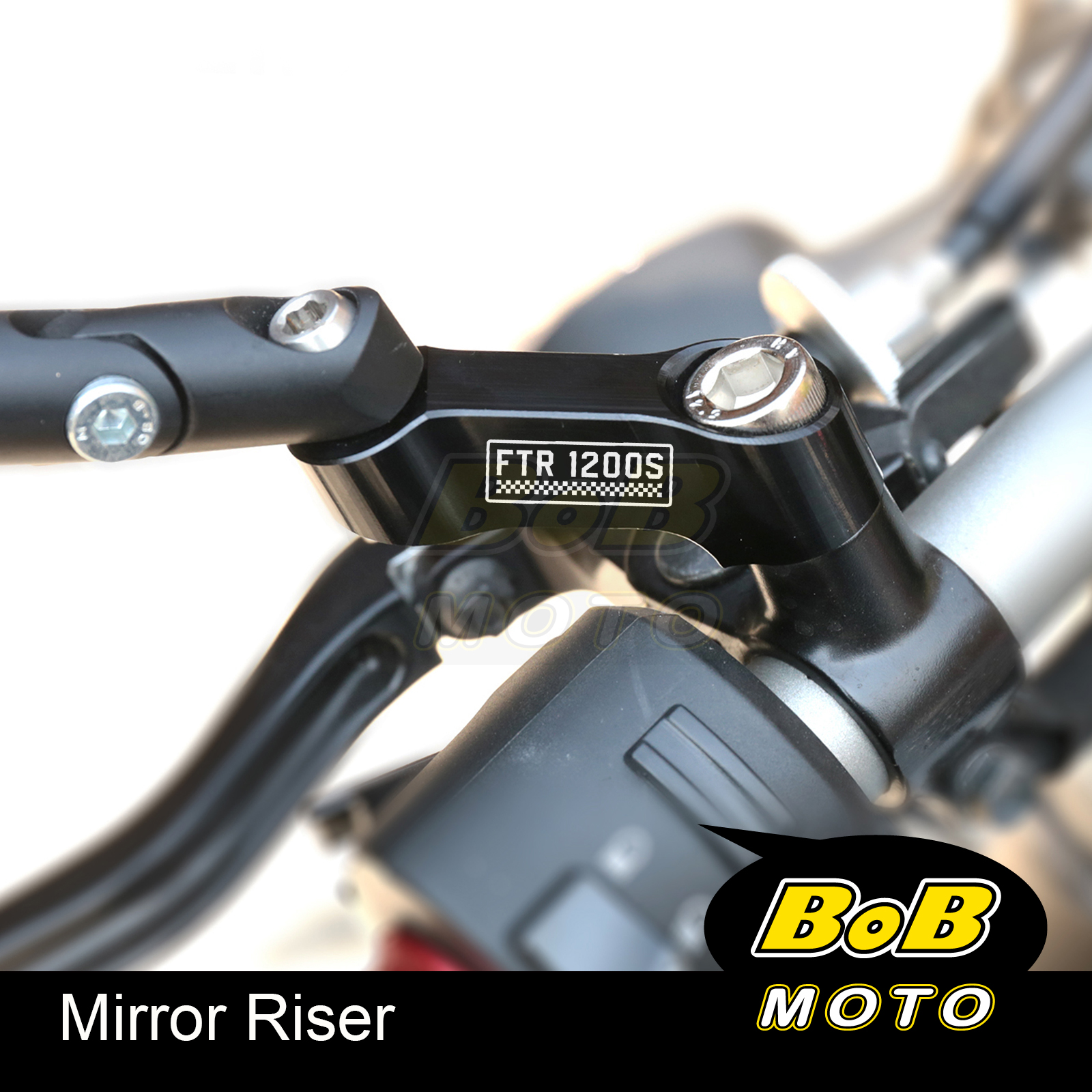 Black M10 Mirror Risers Adaptor FTR1200 Logo For Indian